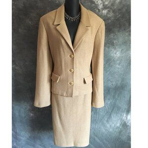 ST JOHN COLLECTION KNIT TAN SKIRT SUIT SIZE 10 12